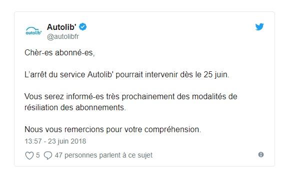 La fin d'Autolib' fixée au 31 juillet 2018