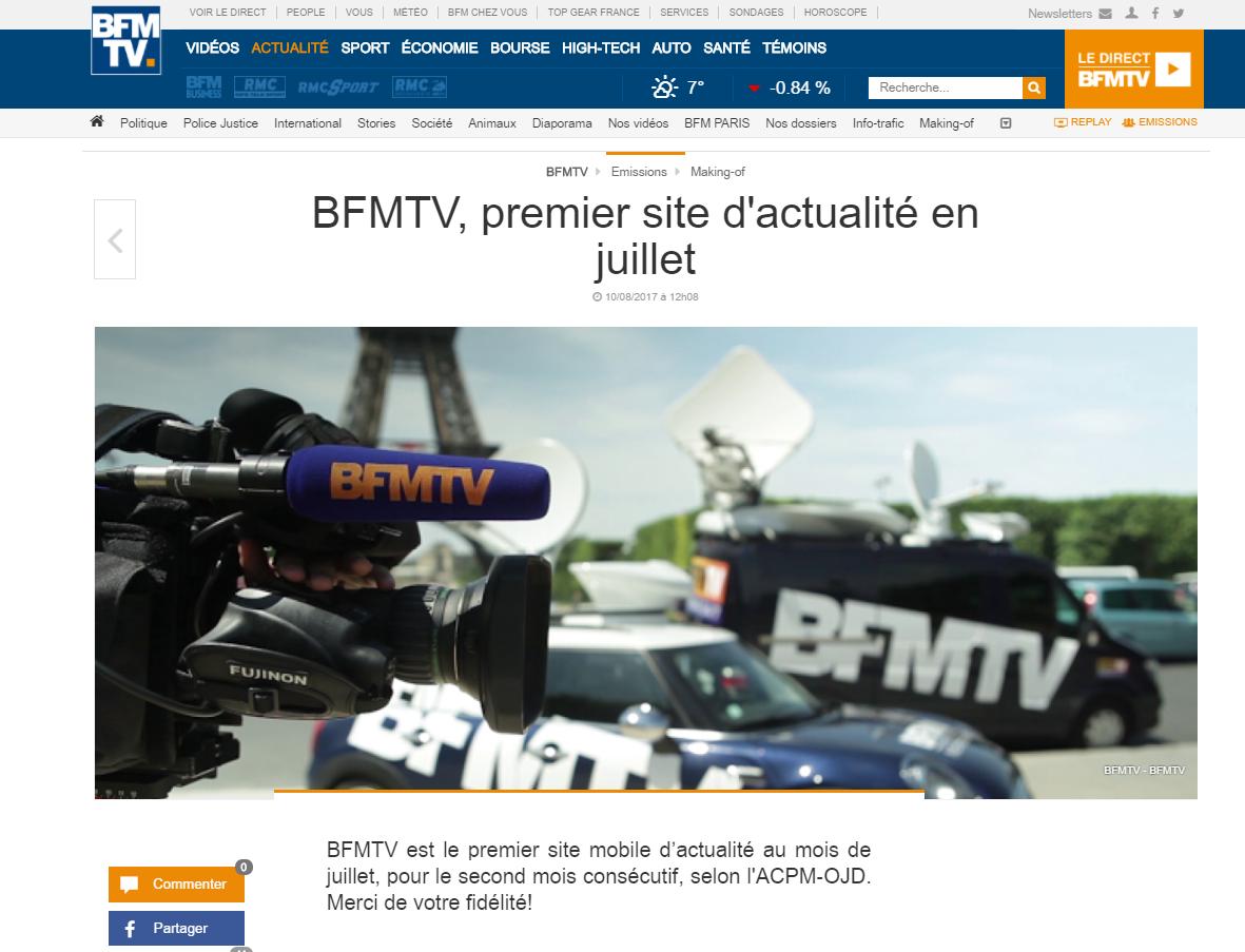 franceinfo et bfmtv revendiquent toutes les deux  u00eatre  u0026quot premier site d u0026 39 actualit u00e9 en juillet