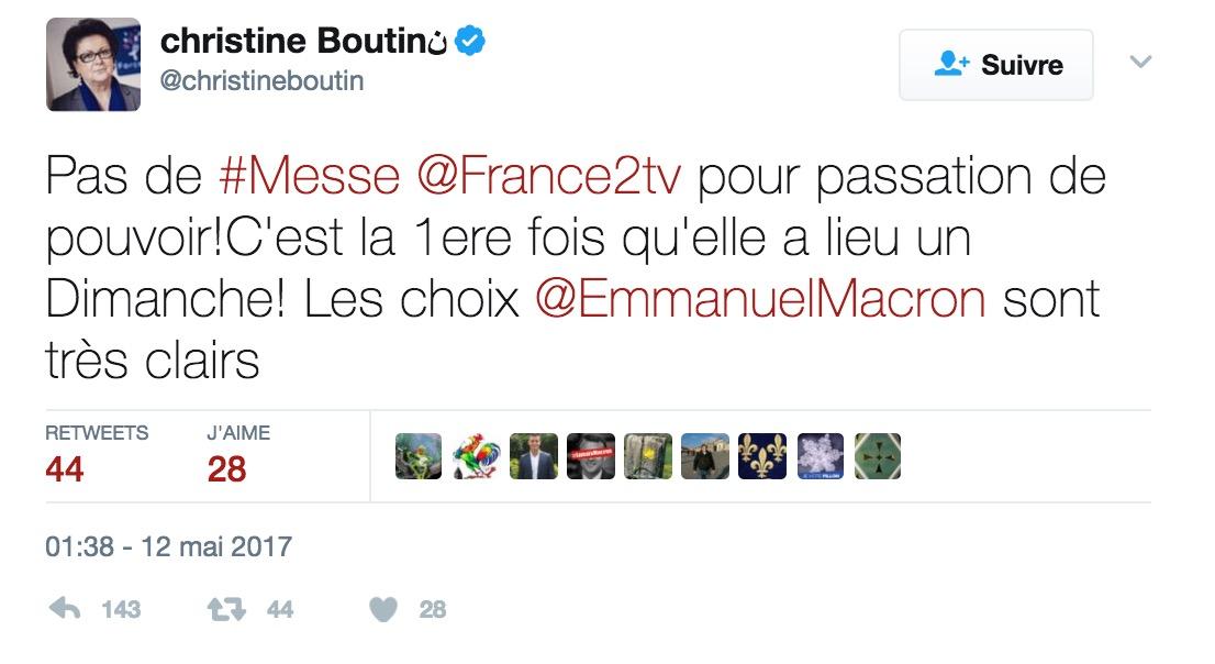 Passation de pouvoir: Christine Boutin s'insurge contre la déprogrammation de la messe sur France 2