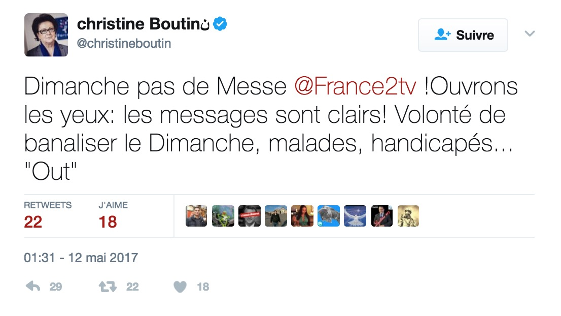 Passation de pouvoir oblige, la messe ne sera pas retransmise dimanche sur France 2, ce qui rend folle de rage