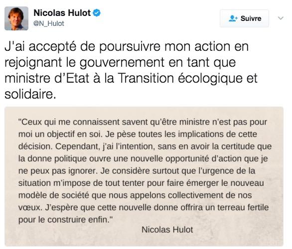 Report de la parution d'un livre que Nicolas Hulot devait préfacer