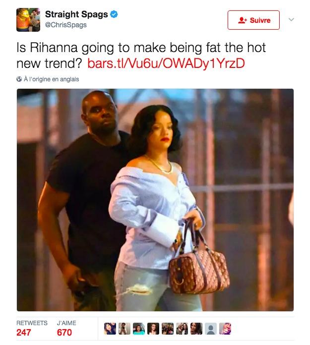Un journaliste sportif s 39 attire les foudres des fans de rihanna apr s s 39 tre moqu de la prise - Rihanna poids 2017 ...