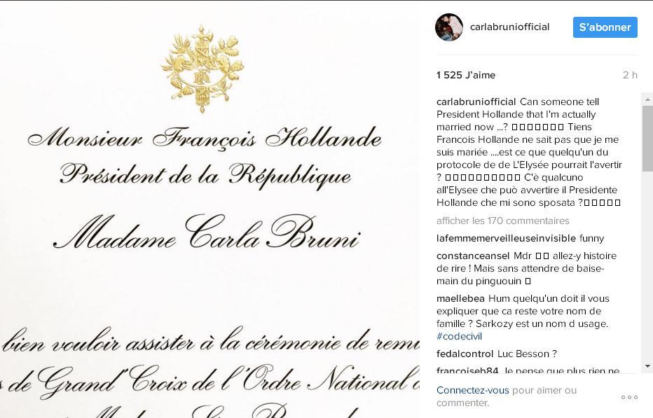 Carla Bruni-Sarkozy titille François Hollande sur Instagram