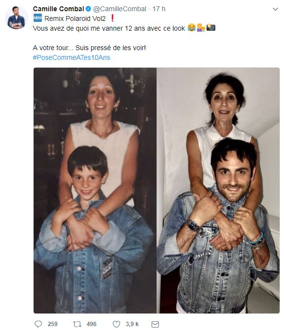 Camille Combal reproduit la même photo avec sa mère 25 ans