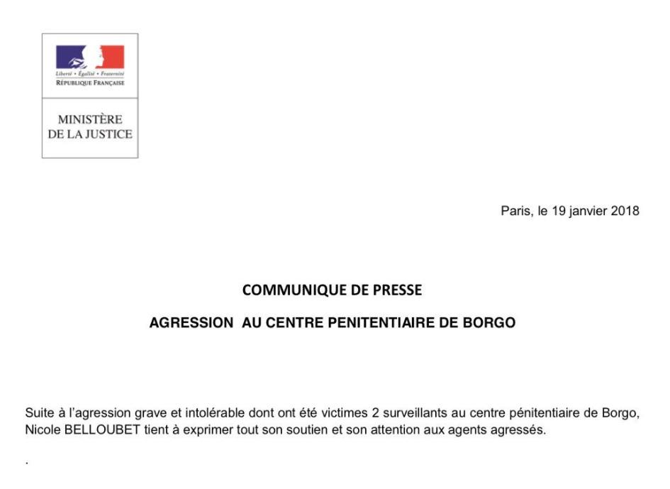 Deux surveillants de prison agressés par un détenu en Corse