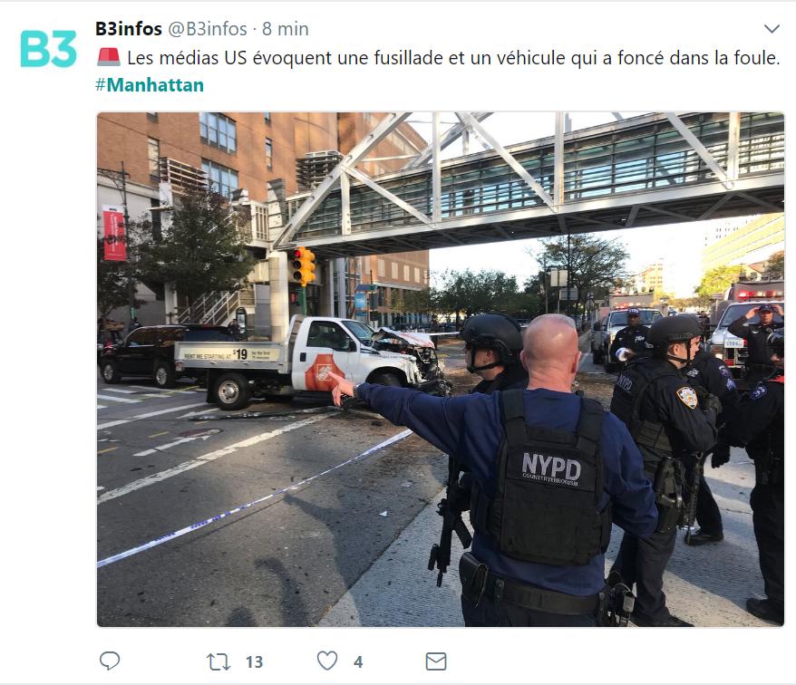 Fusillade à Manhattan, plusieurs blessés, selon des médias américains