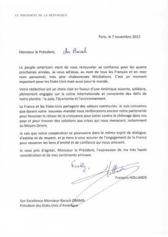 formule de politesse en fin de lettre en anglais Elections US: François Hollande écrit une lettre à Barack Obama  formule de politesse en fin de lettre en anglais