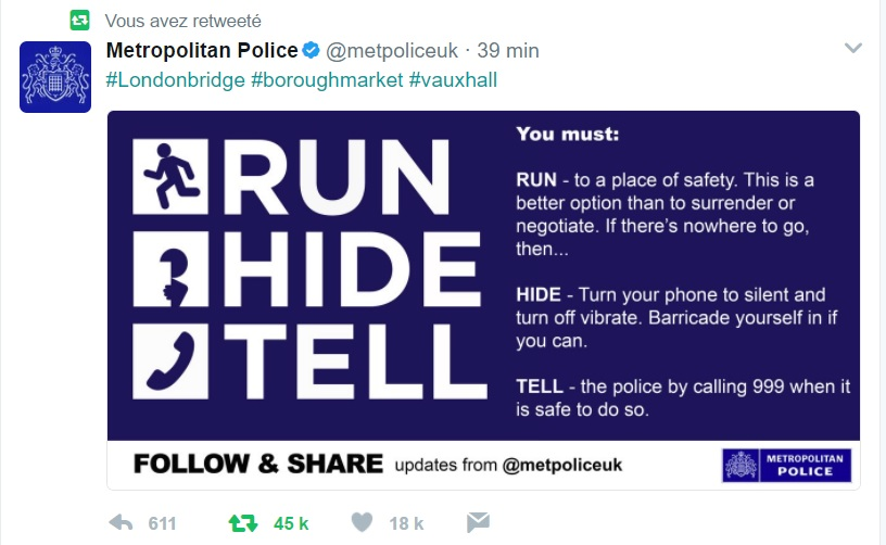 Un Français disparu aurait sauté dans la Tamise — Attentat à Londres