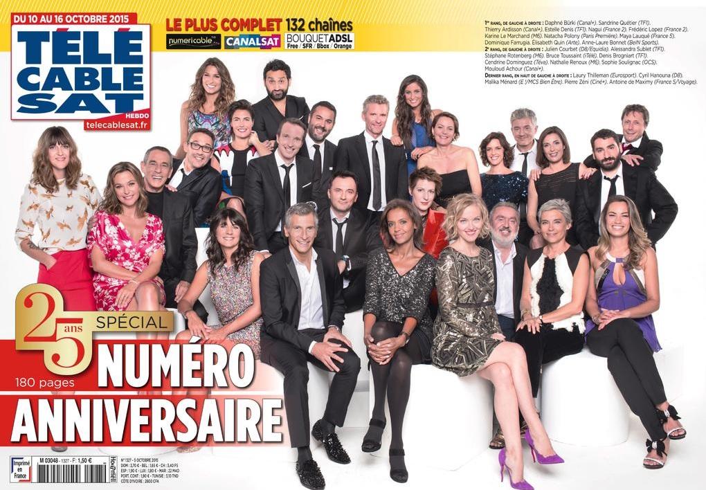 Vingt six animateurs tv posent en une pour le 25e anniversaire du magazine t l c ble sat hebdo - Tele cable sat ...