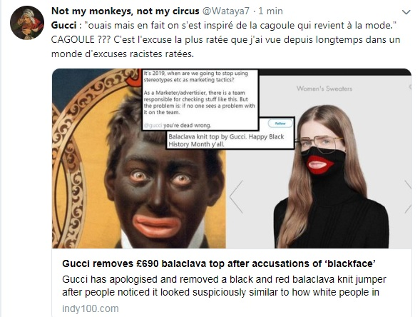 e25b01dad6 Nous nous soucions de développer la diversité à travers notre entreprise,  et considérons cet incident comme une importante leçon donnée à l'équipe  Gucci et ...