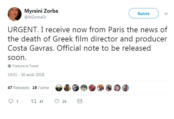 Le cinéaste franco-grec Costa Gavras doit démentir son propre décès
