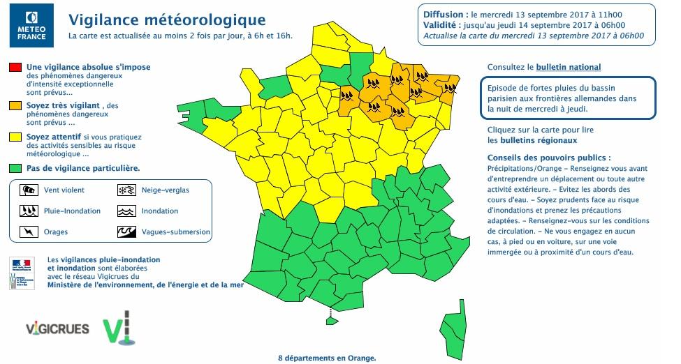 7 départements placés en vigilance orange pluie-inondation — Météo France
