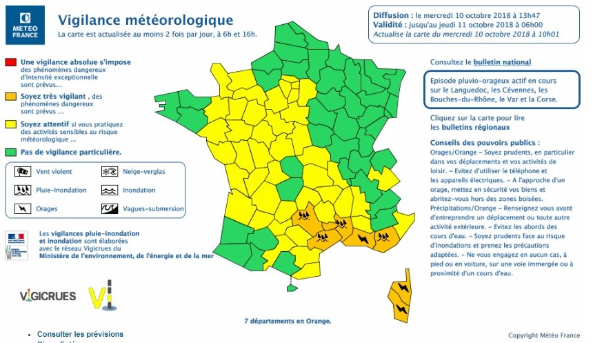 Météo France Place Désormais Sept Départements En Alerte