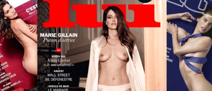 """L'actrice Marie Gillain pose seins nus en Une du magazine """"Lui"""" - Regardez"""