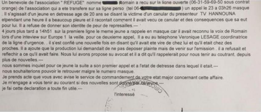 EXCLU -  Voici la déposition faite par le patron du Refuge à la Police et la réaction de la société de production d'Hanouna