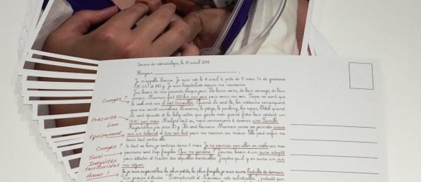 Une carte postale a été envoyée à tous les députés français avec une photo «choc» de Louise, bébé prématuré né à seulement 5 mois