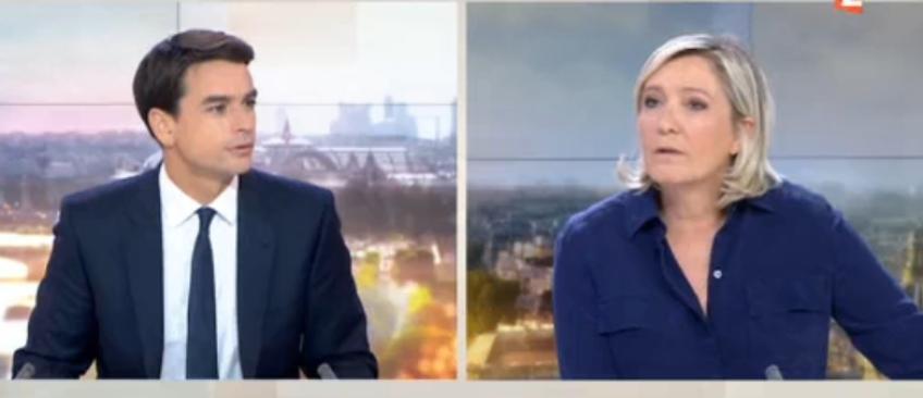 """Terrorisme - Marine Le Pen s'en prend en direct à une enquête de France 2: """"C'est presque risible votre reportage  !"""" - Regardez"""