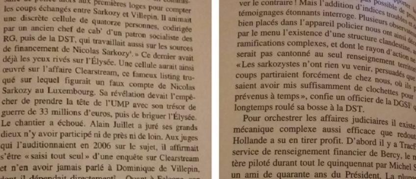 Voici les 2 pages du livre cité hier soir par François Fillon ! Alors qui dit la vérité ?