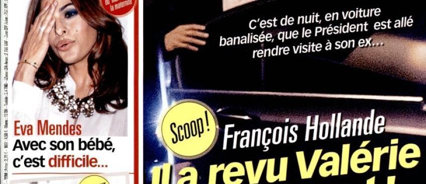 Et maintenant Voici publie les photos de Hollande rendant visite à Valérie Trierweiler, de nuit, en voiture banalisée !