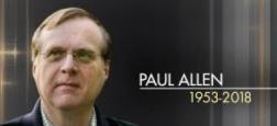 Paul Allen, le milliardaire co-fondateur de Microsoft avec Bill Gates, est mort des suites d'un cancer qui avait récidivé en octobre dernier
