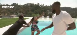 En pleine interview, le footballeur français Paul Pogba pousse une journaliste dans la piscine d'une villa à Los Angeles- Regardez
