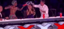 America's Got Talent: L'ex Spice Girl Mel B n'apprécie pas une blague de Simon Cowell et lui jette son verre au visage en plein direct ! - Regardez