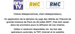 Suite à une décision de justice, Free doit cesser de diffuser les chaînes BFMTV, RMC Découverte et RMC Story à partir de vendredi