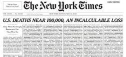 Coronavirus - Le quotidien américain The New York Times consacre ce dimanche sa une à la mémoire d'un millier de victimes et évoque pour chacune ce qu'a été sa vie