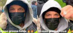 Capuche sur la tête et visage masqué, le rappeur Nekfeu a manifesté hier avec les gilets jaunes pour le premier anniversaire du mouvement - Vidéo