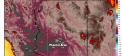 Il fait si chaud en Arizona que les chaînes de télé n'ont plus assez de couleurs pour évoquer les températures qui explosent