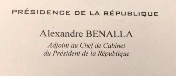 Affaire benalla sa carte de visite qui prouve qu 39 il se pr sentait bien comme adjoint au chef - Chef de cabinet du president de la republique ...